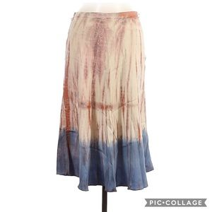 ABS by Allen Schwartz Silk Tie-Dye Flirty Skirt